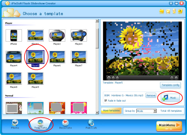 Flash images slideshow